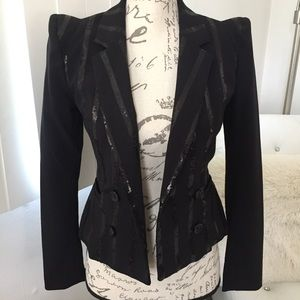 NEW H&M Sequin Stripe Strong Shoulder Blazer 2